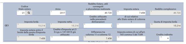 Compilazione quadro CE1